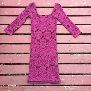 Free People Purple Medallion Lace 3/4 Sleeve XS